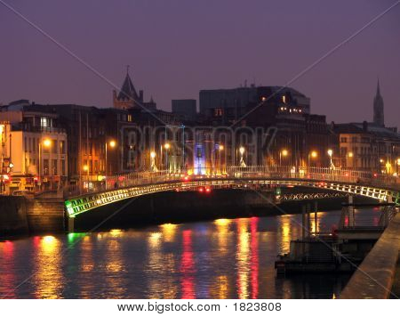 Half Penny Bridge By Night