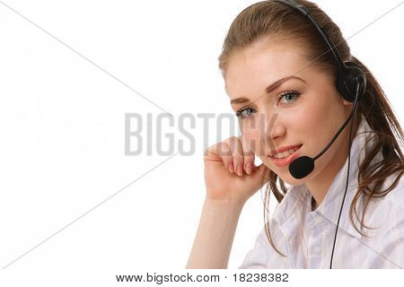 A female customer service consultant, closeup