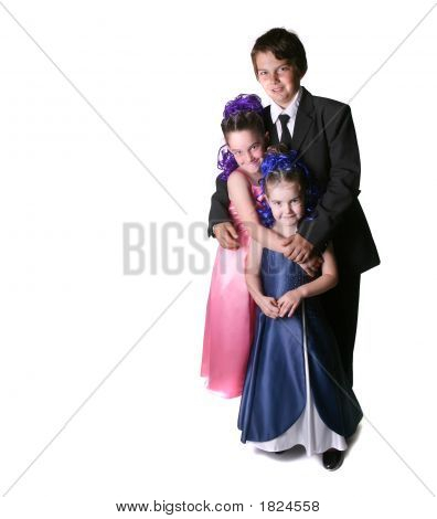 Three Children Dressed To Impress