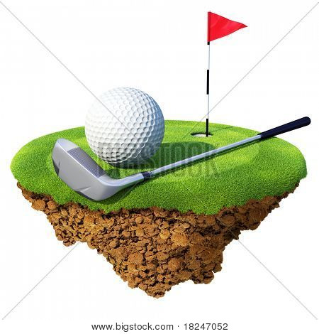 Golf club, ball, flagstick and hole based on little planet. Concept for golf club or competition design. Tiny island / planet collection.