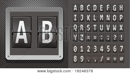 Alphabet of mechanical panel on metallic plate. Vector illustration.
