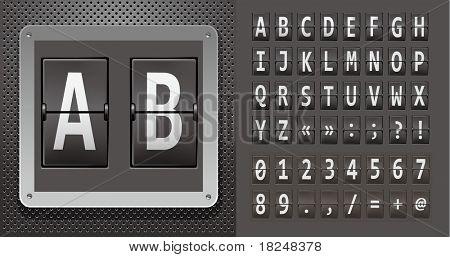 Alphabet of mechanical panel on metallic plate. Vector illustration.
