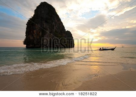Sunset Boat Railay Beach Thailand Horizontal