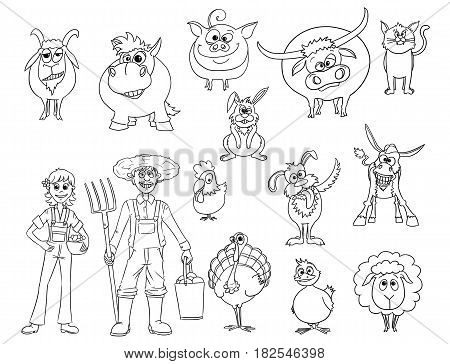 Hand drawn set of cartoon vector farm animals and male and female farmers