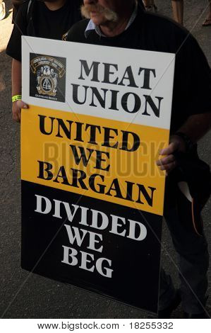 Brisbane, Australia - May 2 : Labour Day Street March Protesting Workers Rigths Man Holding Meat Uni
