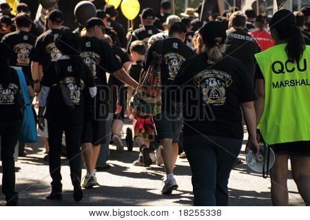 Brisbane, Australia - May 2 : Labour Day Street March Protesting Workers Rigths Meat Workers Union M
