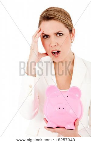 Concerned woman with her savings in a piggy bank ? isolated