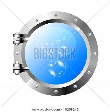 ship's porthole on a white wall