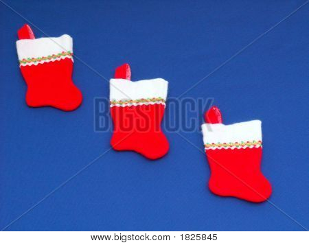 Three Red Christmas Stockings