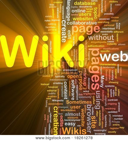 Background concept wordcloud illustration of wiki glowing light