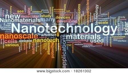 Background concept wordcloud illustration of nanotechnology glowing light