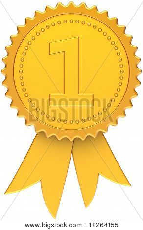 First place award ribbon total golden
