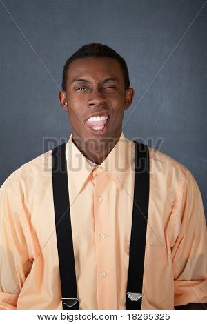 Young Man With Funny Faces