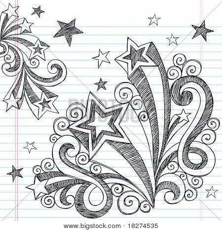 Dibujado a mano volver a la escuela destellos y estrellas Notebook incompletos garabatos Vector ilustración diseño E