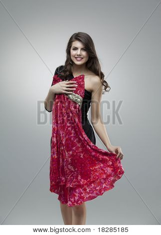 Happy Women Trying Red Flower Dress