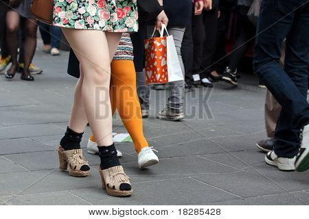 Women Legs In Crowd