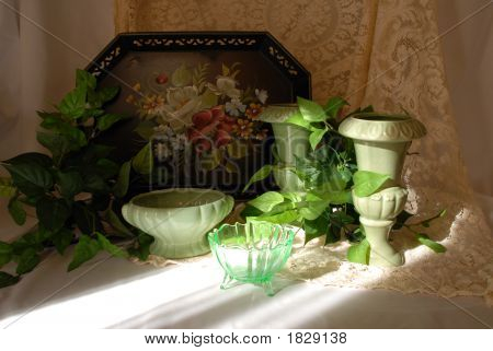 Toll Tray And Green Vases