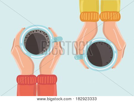 poster of Vector illustration of two friends drinking coffee. Tea Coffee Break, Cup Mug, Top view of table in cafe. Woman frienship in automn. Friendly support in difficult times, woman conversation coffee house