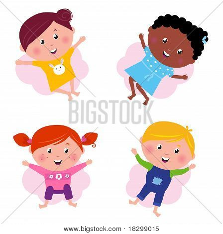 Multi Cultural Different Jumping Children - Vector Isolated On White.