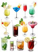 Collection of colorful cocktails. File contains clipping paths for each one. poster