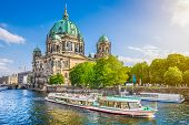 Museumsinsel With Berlin Cathedral With And Excursion Boat On Spree River At Sunset, Berlin, Germany poster