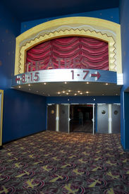 stock photo of movie theater  - Movie theater entrance Movie theater in downtown San Francisco California - JPG