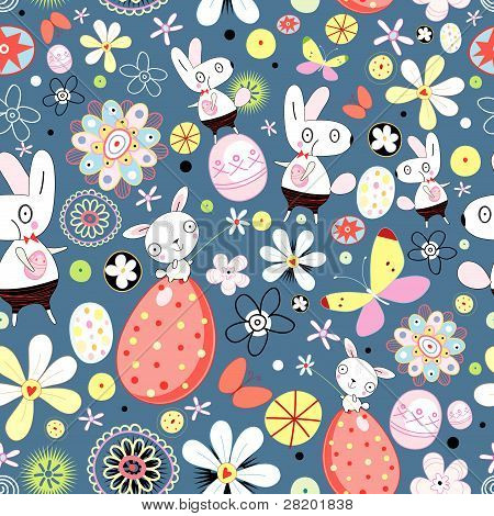 Flower texture of Easter rabbits