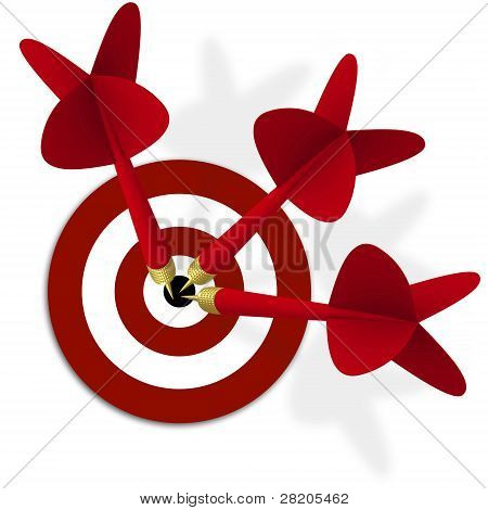 Target With Three Red Darts In Center
