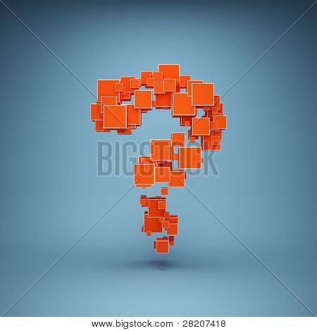 Abstract question mark are made of cubes