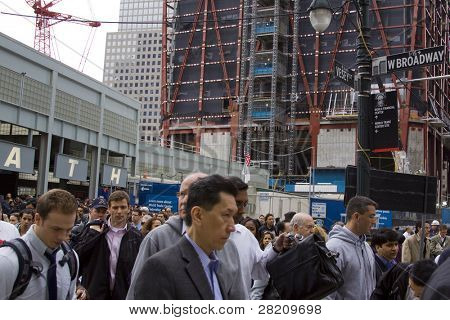 NEW YORK - MAY 2: Commuters exit from the World Trade Center PATH on May 2, 2011 in New York City. Osama bin Laden was killed in Pakistan by US Seals the day before.