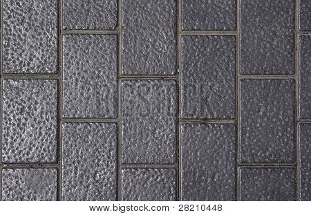 Side Walk Made Of Dotted Gray Bricks. Good As Backdrop Or Background.