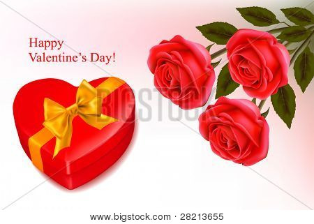 Valentine background. Red roses and a box in the shape of heart. Vector illustration.