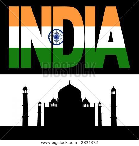 Taj Mahal And India Flag Text