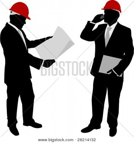 businessmen with hard hat silhouettes