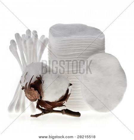 Cotton swabs , pads ,  sticks and cotton bolls  isolated on white