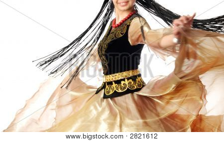 Smiling Dancer In Motion With Long Hair