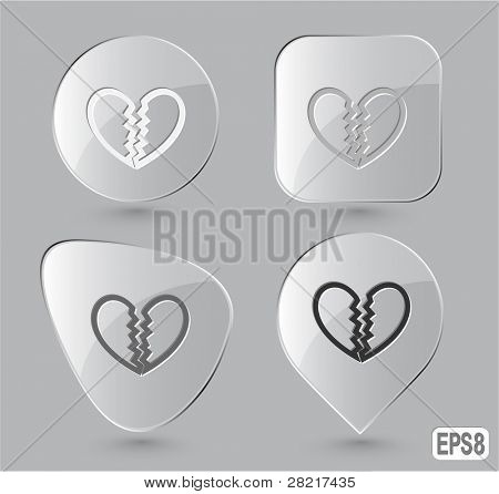 Unrequited love. Glass buttons. Vector illustration.