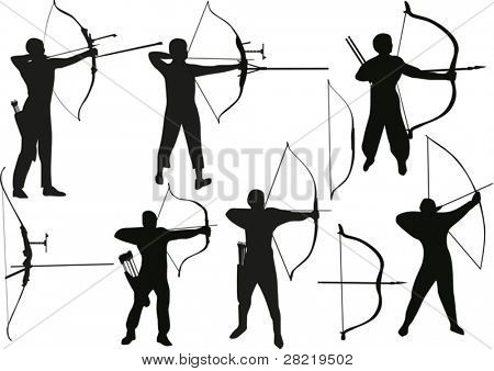 illustration with set of archers isolated on white background