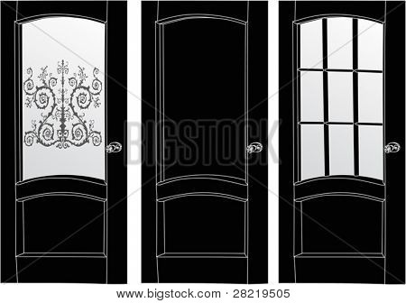 illustration with three doors isolated on white background