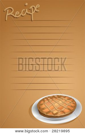 Recipe page with a tart, brown background