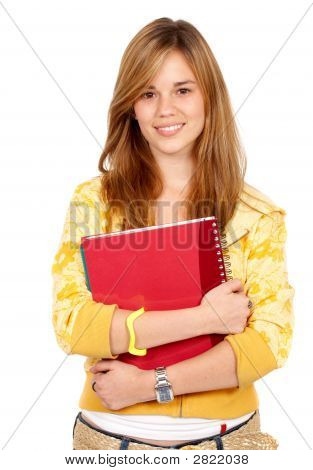 Blond Teenage Student Smiling