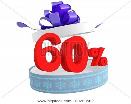 Gift And Sixty-off On A White Background