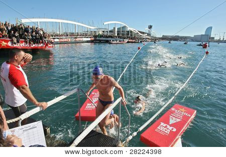 BARCELONA, SPAIN - DECEMBER 25: Open water swimming competition Christmas Cup at the Port waters on December 25, 2009 in Barcelona.