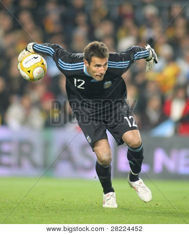 BARCELONA, SPAIN - DEC. 22: Argentinian goalkeeper Diego Pozo in action during the friendly match between Catalonia vs Argentina at Camp Nou Stadium Dec. 22, 2009 in Barcelona.