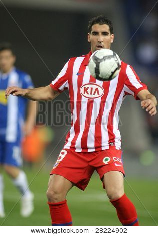 BARCELONA-APRIL 11: Raul Garcia of Atletico Madrid in action during a Spanish League match between Espanyol and Atletico Madrid at the Estadi Cornella on April 11, 2010 in Barcelona, Spain