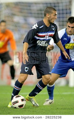 BARCELONA, SPAIN - JULY 31: Guido Marilungo of UC Sampdoria in action during a friendly match against RCD Espanyol at the Estadi Cornella-El Prat on July 31, 2010 in Barcelona, Spain