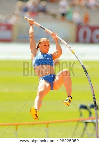 BARCELONA, SPAIN - JULY 28: Nikoleta Kiriakopoulou of Greece during Women Pole Vault of the 20th European Athletics Championships at the Olympic Stadium on July 28, 2010 in Barcelona, Spain
