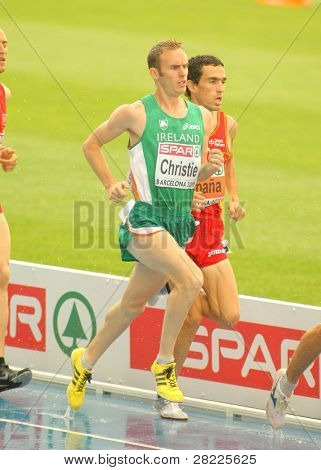 BARCELONA, SPAIN - JULY 29: Mark Christie of Ireland competes on the Men 5000m during the 20th European Athletics Championships at the Olympic Stadium on July 29, 2010 in Barcelona, Spain