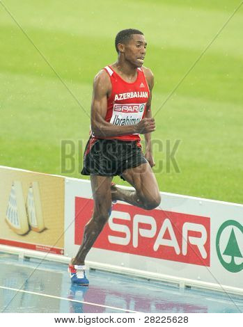 BARCELONA, SPAIN - JULY 29: Hayle Ibrahimov of Azerbaijan competes on the Men 5000m during the 20th European Athletics Championships at the Olympic Stadium on July 29, 2010 in Barcelona, Spain