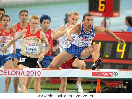 BARCELONA, SPAIN - AUGUST 01: Ion Luchianov of Moldova competes on 3000m steeplechase Final of the 20th European Athletics Championships at the Olympic Stadium on August 1, 2010 in Barcelona, Spain
